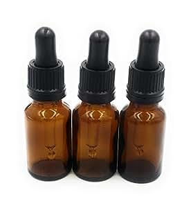 CONFEZIONE DA 3 Flacone Vetro Ambra Aromaterapia (25ml) con pipetta contagocce. alta qualità vuote marrone in adatto per aromaterapia, Arte, Artigianato, Pronto Soccorso, Occhio e Gocce Orecchie