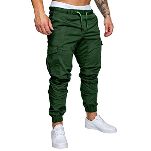 Elecenty pantaloni sportivi da uomo pantaloni casual elastico pantaloni sport pantaloni larghi tasche larghi (size:3xl, verde)