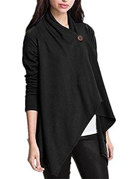 AILIENT Camicetta Donna T Shirt Vintage Manica Lunga Eleganti Lunga Basic Primavera Orlo Irregolare Con Bottoni...