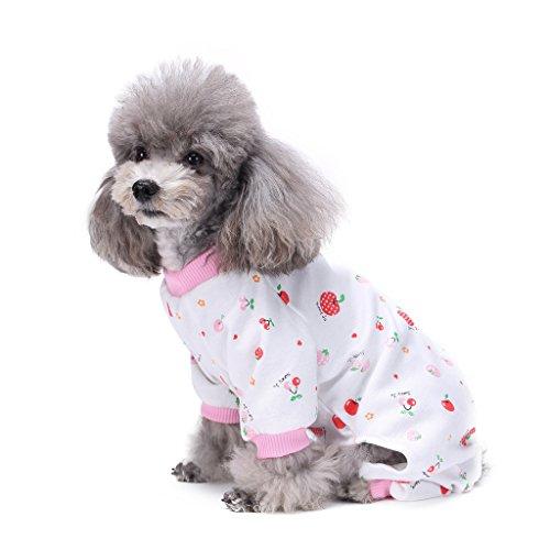 s-lifeeling Hund Kostüme Outfit Cherry Muster Komfortable Puppy Schlafanzug Weiche Hund Jumpsuit Shirt Best Geschenk 100% Baumwolle Mantel für kleine und mittlere Hunde (Piraten Outfit Ideen)
