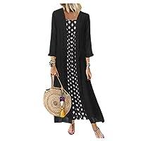 فستان نسائي من قطعتين من DressU طويل الأكمام شال بولكا منقط ماكسي اسود US-2XL