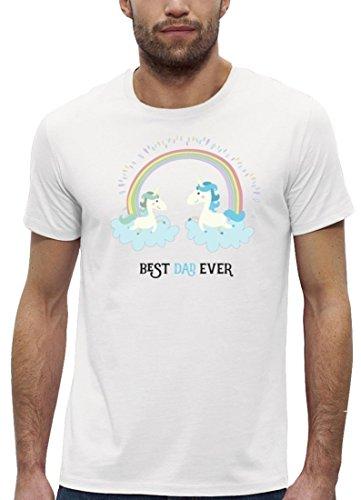 Einhorn Vatertag Premium Herren T-Shirt Bio Baumwolle Unicorn Best Dad Ever Premium Stanley Stella White