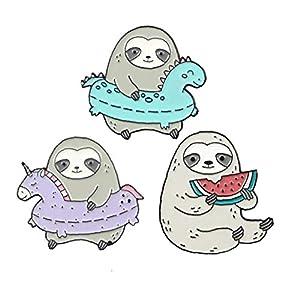 Aisoway 3Pcs Nette Sloth Broschen Set Tier Badge LAPE Kleidung Pins