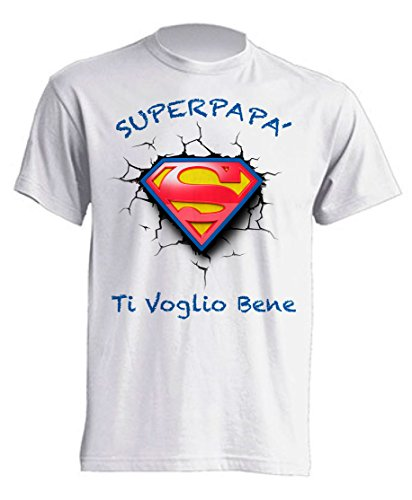 Mister Patch - T-Shirt Maglietta Super papà - Super Mamma - Auguri Festa del papà e della Mamma - Ideale per Regalo ai Figli (XL, Super papà)