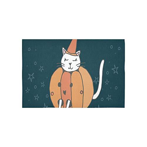 Tapisserie weiße Katze in großen Kürbis mit Handbeschriftung Wandteppiche Wandbehang Blume psychedelischen Wandbehang Wandbehang indischen Wohnheim Dekor für Wohnzimmer Schlafzimmer 60 x 40 Zoll