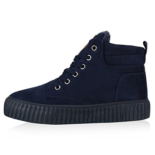 Gefütterte Damen Sneakers High Winter Schuhe Profil Sohle Dunkelblau