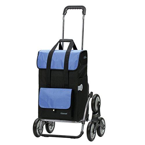 Andersen Einkaufstrolley Royal Treppensteiger klappbar und 43 Liter Einkaufstasche Vektor Schwarz/Blau mit Kühlfach Einkaufswagen Gestell aus Stahl