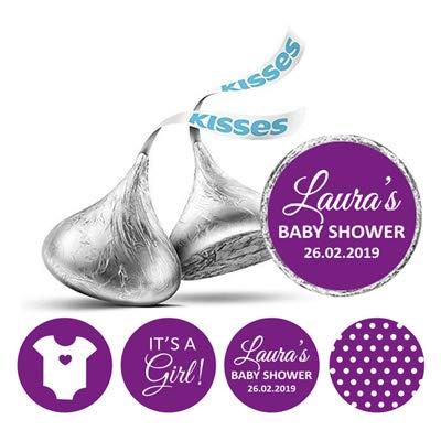 Darling Souvenir 190 Pcs Es ist ein Mädchen Theme individuelle Aufkleber für Hershey Kisses Süßigkeit Labels-Lila