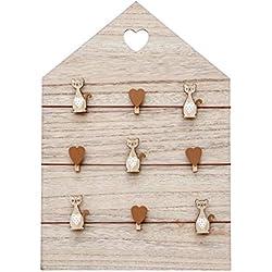 Tablero de notas, tablero de mensajes, marco de fotos de madera 42x30cm panel de pared para colgar con clips de corazones y gatos natural, hogar decoracion regalo de amante del gato