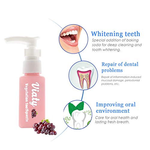 VNEIRW Whitening Zahnpasta, Kinder Zahncreme mit Baking Soda, Natürliche Zahnaufhellung, Natürliche Zahnaufhellung, Aufhellen Gums Für Empfindliche Zähne, Fluorid frei - Obst flavor (60g, Traube)