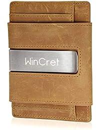 db5329adc0 WinCret Portafoglio Uomo Sottile con Fermasoldi e Portamonete - Porta Carte  di Credito RFID innovativo Mini