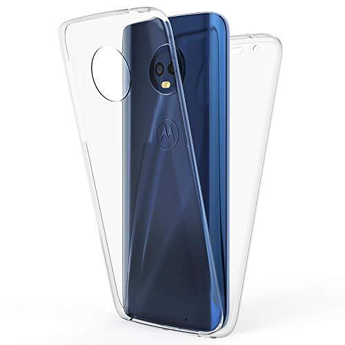 NALIA 360 Grad Handyhülle für Motorola Moto G6 Plus, Full-Cover Silikon Bumper mit Bildschirmschutz vorne Hardcase hinten, R&um Hülle Doppel-Schutz Dünn Ganzkörper Case Handy-Tasche, Farbe:Transparent