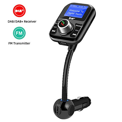 Breeezie Auto DAB + Digitalradio-Adapter FM-Sender, tragbares DAB-Autoradio Bluetooth-MP3-Freisprechempfänger mit LCD-Display, TF-Karte, AUX, DAB Digital Crystal Sound