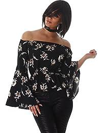 Flor Voyelles camisa de las señoras de la blusa blusas túnica de manga larga con cuello