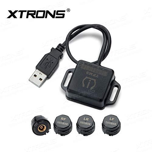XTRONS Auto TPMS Reifendruckkontrollsystem Tire Pressure Monitoring System Reifendruckkontrolle mit 4 Externe Sensoren Reifendruck Voltage Temperatur Anzeig für XTRONS