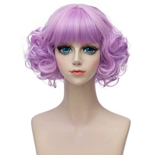 Licht Kostüm Lila - COSPLAZA kurze Wellen Curls Flat Bangs Retro Mode Dame Cosplay tägliche Kostüm Perücken Licht lila