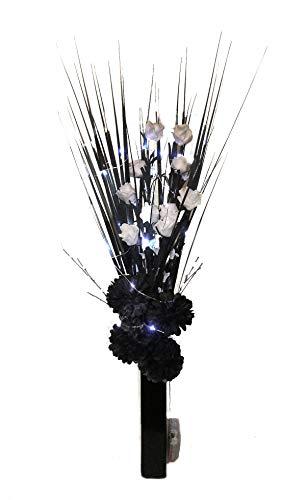 Unbekannt Modernes Handarbeit Schwarz & Weiß floral Display. GRATIS Keramik Vase. Licht bis. 20LED Beleuchtung keine Batterien enthalten. Künstliche Seide und getrocknete Gräser. Höhe: 65cm