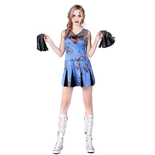 Thermos cup Halloween KostüM Costume Erwachsener Weiblich Horror BeäNgstigend Cosplay Geist Tod Zombie,Horror Cheerleading (Kostüm Kinder Beängstigend)