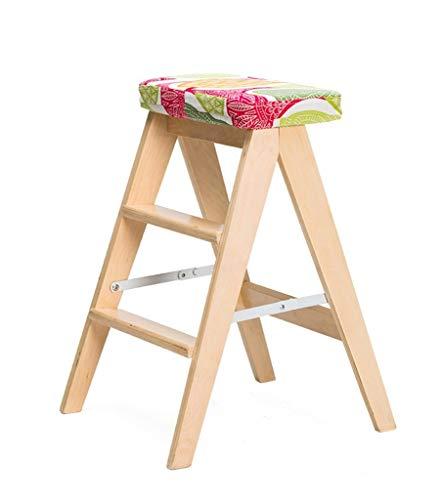 Klapphocker Leiter mit Kissen Dual-Use-3-Stufenleiter, Birke, 3 Stile Lange andauernd (Color : Wood Color, Size : 3#) -