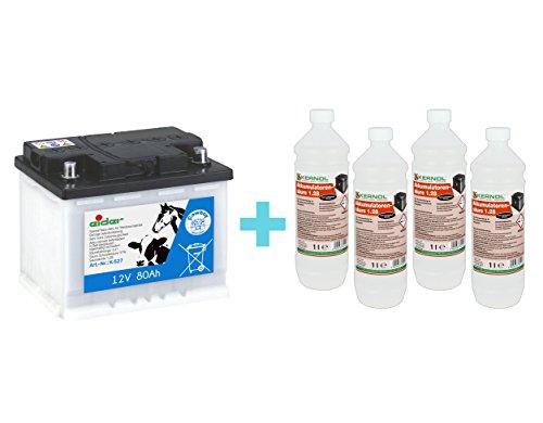Eider 10371-000 12V Akku 80 Ah + 4X 1 Liter Batteriesäure