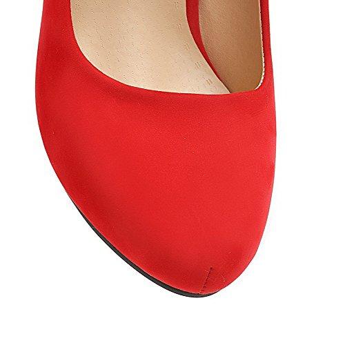 AgooLar Femme Suédé à Talon Haut Rond Couleur Unie Tire Chaussures Légeres Rouge
