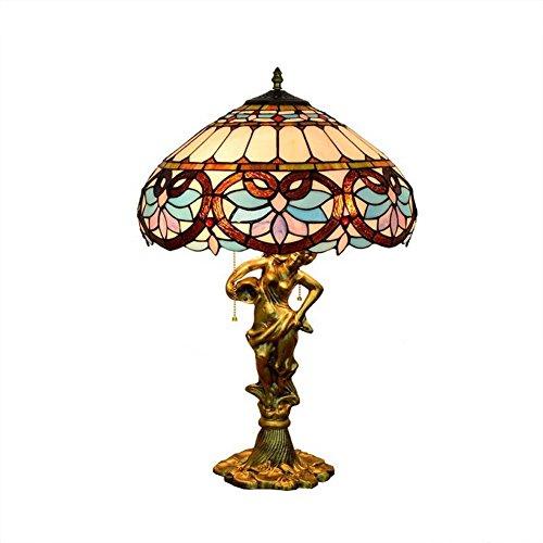 Lampada da tavolo in stile tiffany, lampade da tavolo con cerniera in vetro colorato barocco, lampada da tavolo europea per creatività, soggiorno, camera da letto, lampade da comodino in stile letto, e27 (lampadine non incluse) 40 * 64 cm