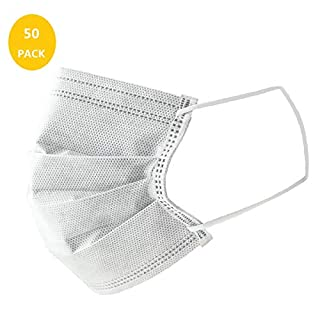 Medical Disposable Face Masks Dust for Air Pollution Individual Package, Activated Carbon Face Mask Surgical Dental Hypoallergenic 50 Packs