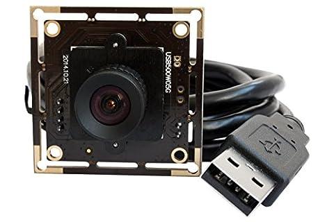 ELP Module de Caméra USB Mini 5 Mégapixels ,Webcam avec 2592x1944 HD large MJPEG ,Aptina MI5100 capteur CMOS pour industrielle (100 degrés sans distorsion de lentille)