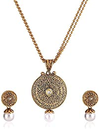Shining Diva Gold Plated Traditional Jewellery Party Wear Kundan Pearl Necklace Set / Pendant Set With Earrings...