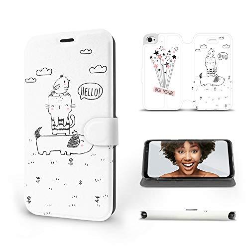 MOBIWEAR   Slim FLIP Case   Kompatibel mit Apple iPhone 4s, Made in EU handyhülle, Premium Schutzhülle, Transparent TPU Silicon, Book Style Hülle, Tasche - Beste Freunde