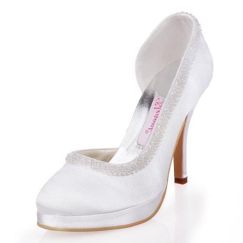 ElegantPark EL-005C-PF Escarpins Femme Satin Bout Rond Strass Beads Plateau D'orsay Chaussures de mariee mariage Bal Blanc