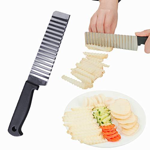 Kartoffel Edelstahl Gemüse Crinkle Wellig Kartoffelchip Teigschneider Klinge Welle Messer Chopper Gezackte Klinge Karottenschneider