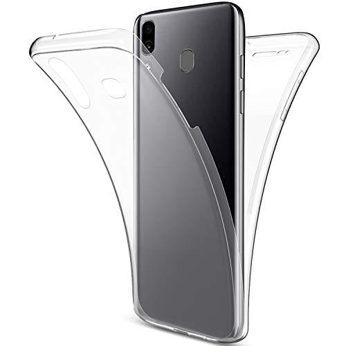 Uposao Kompatibel mit Samsung Galaxy A30 Hülle 360° Full Body Cover Soft Hülle Rundum Handyhülle Doppel-Schutz Hülle Vorne Hinten Silikon Transparent Dünne Durchsichtig Schutzhülle,Klar
