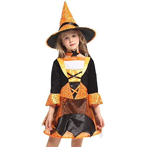 QINGQING Kinder Baby Mädchen Hexe Dress up Halloween Kinder Durchführung Kleidung Kostüm Kleid Party Kleider + Hexe Hut + Kragen Kinder Mädchen Halloween Kleidung Kostüm (Size : M(5-7years))
