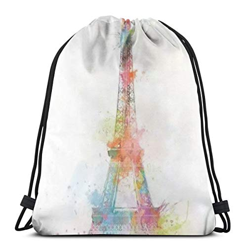 Paris, Tower, New York1 Rucksack mit Kordelzug Rucksack Umhängetaschen Leichte Sporttasche zum Wandern am Yoga-Gymnastik-Schwimmreisestrand