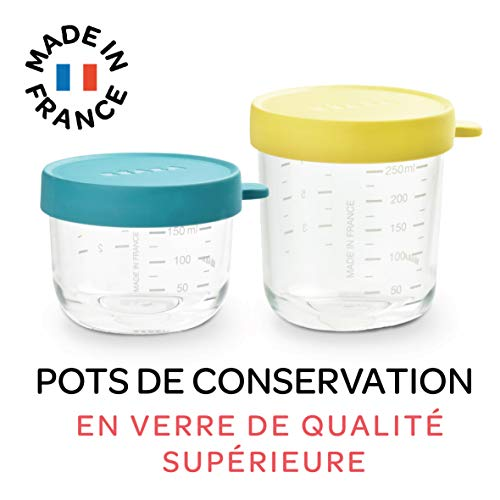 BÉABA Lot de 2 pots de conservation en verre 150 ml blue/250 ml néon