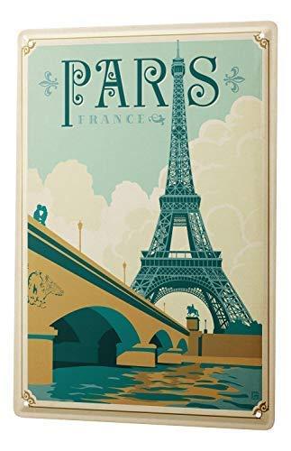 qidushop World Tour Paris - Letrero de Aluminio para Pared, diseño de Torre Eiffel de París