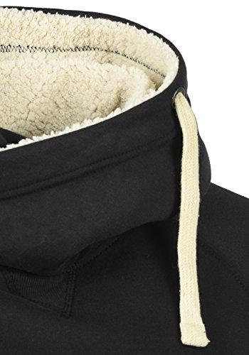 BLEND 703585ME Sales Herren Kapuzenpullover Hoodie Sweatshirt mit Kapuze und optionalem Teddy-Futter sowie Crossover-Kragen aus hochwertiger Baumwollmischung Meliert Black mit Teddy-Futter