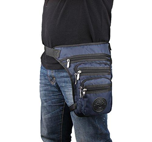 Genda 2Archer Taktische Drop Beintasche Nylon Taille Tasche Crossbody Umhängetasche (Schwarz) Blau