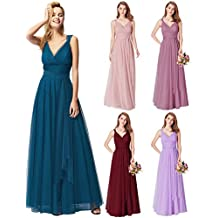 6a491398a Ever-Pretty Vestido de Fiesta Noche Largo Cuello V Ceremonia Dama de Honor  para Mujer