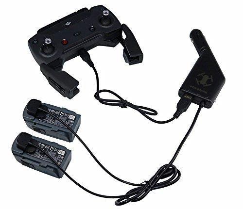 DJI Spark KFZ-Ladegerät, 3 in 1 KFZ-Ladegerät Adapter für 2 DJI Spark Flight Akku + 1 Fernbedienung, USB-Schnittstelle für Smartphone aufladen