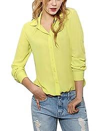 Yalatan Femmes à Manches Longues Mousseline T-shirt Blouses Tops Bouton Chemises à col