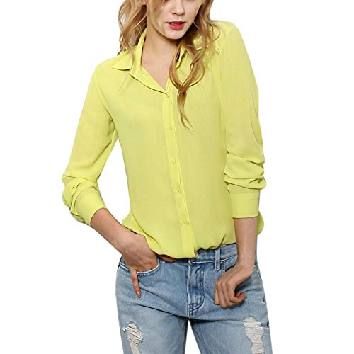 Etosell Femmes Formelle Papillon Collier Slim Long/Short Sleeve Shirt Blouse Jaune