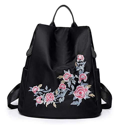 Frau Nylon Floral Bestickt Schulter große Kapazität Rucksack