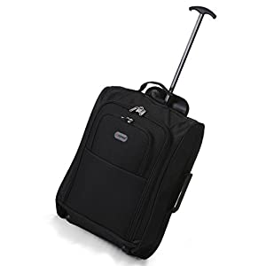 5 Cities/Frenzy Lightweight Hand Luggage Travel Holdall Baggage Wheely Suitcase Cabin Approved Bag