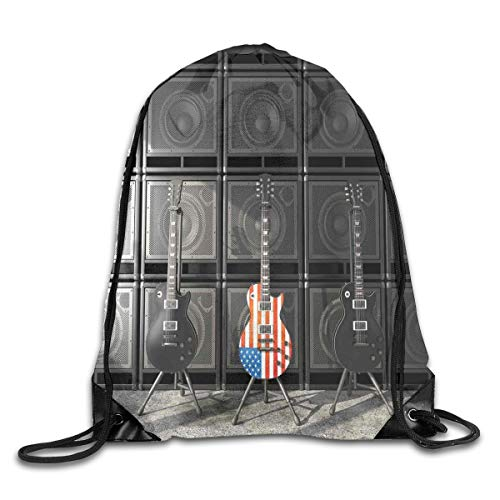EELKKO Drawstring Backpack Gym Bags Storage Backpack, Black and Us Bass Guitar Electronic Rock Music Theme Digital Graphic Work,Deluxe Bundle Backpack Outdoor Sports Portable Daypack (Of The Last Us Digital)