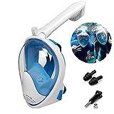 WeyTy Schnorchelmaske Vollmaske, Tauchmaske Vollgesichtsmaske mit 180° Sichtfeld Dichtung aus Silikon Anti-Fog und Anti-Leck Technologie mit Ohrstöpsel und Kamera Halterung(L/XL)