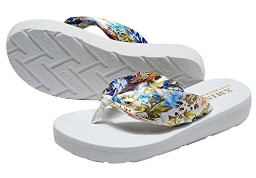 Flip Flops da Donna, Fascigirl Sandali Infradito Antiscivolo di Fondo Spesso Boemo Pantofole da Spiaggia Estiva White L