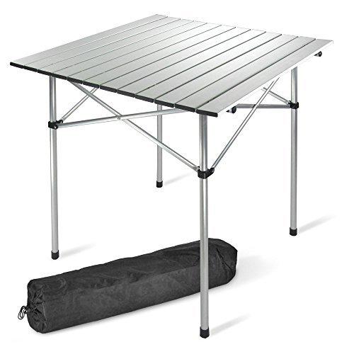 JOM Campingtisch, Tisch 70 x 70 cm Alu nur 2,4 kg, Klapptisch, Rolltisch, inkl. Tragetasche