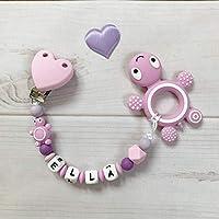 Beißkette mit Namen Silikon Schnullerkette Nuckelkette Schildkröte rosa lila